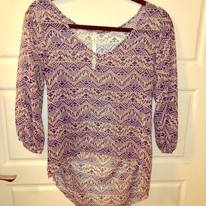 Renee C. Pink and Blue Aztec Blouse